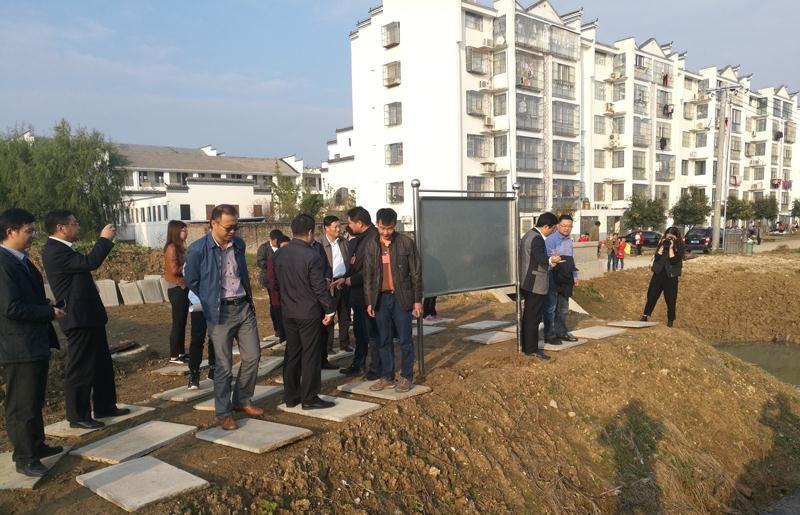 水利部领导调研泗洪石集乡新汴600吨的污水处理点